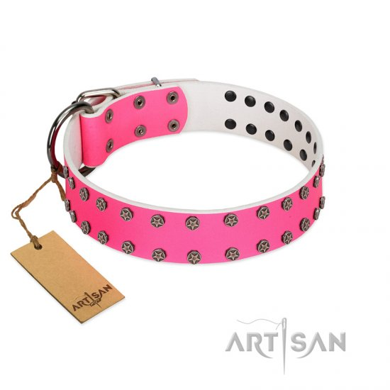 """Pink Fashion"" Designer FDT Artisan Pink Leather dog Collar with Silver-Like Studs"