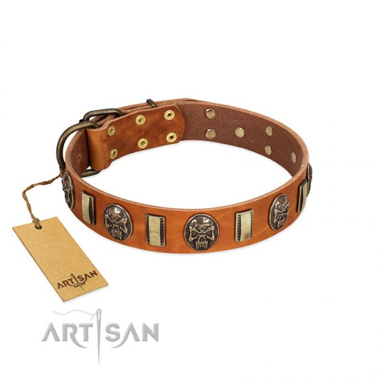 """Strike of Rock"" FDT Artisan Tan Leather dog Collar with Plates and Medallions with Skulls"