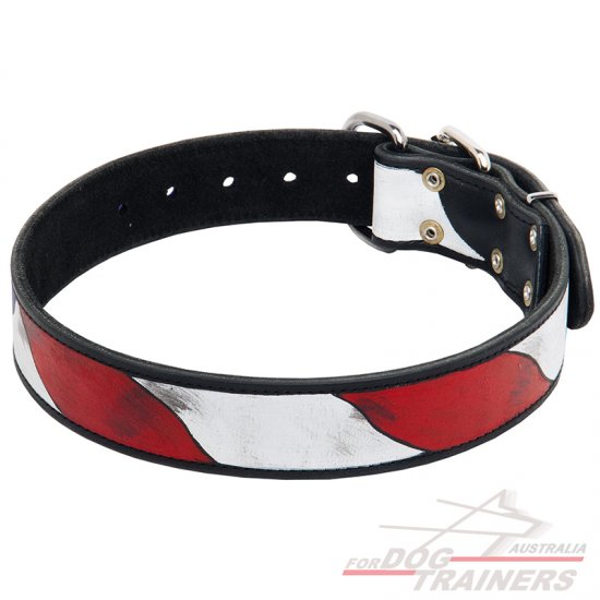 Designer Leather Collar with American Flag Pattern