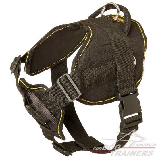 Nylon Dog Harness for Tracking and Pulling with Wide Cushion-like Chest Plate