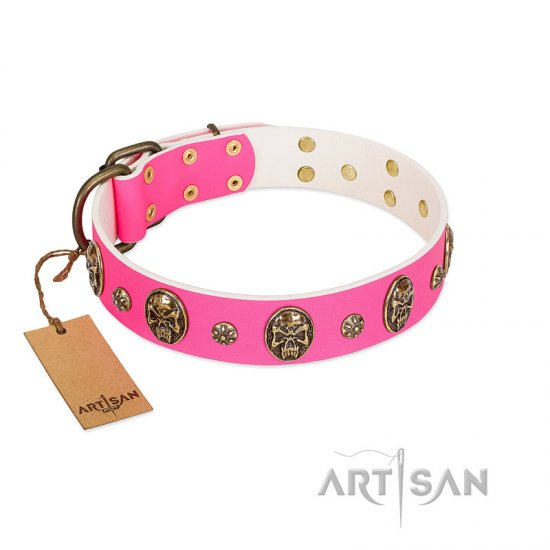 """Fashion Show\"" FDT Artisan Pink Leather dog Collar with Old Bronze-like Skulls and Studs"