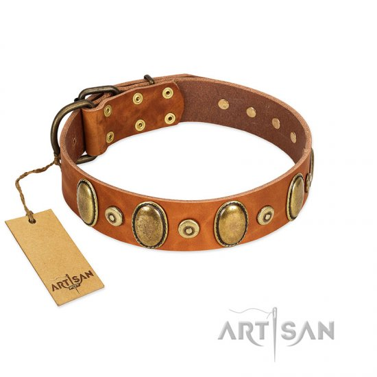 """Crystal Sand\"" FDT Artisan Tan Leather dog Collar with Vintage Looking Oval and Round Studs"