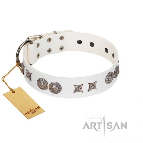 """Seventh Heavens"" FDT Artisan White Leather dog Collar with Chrome-plated Stars and Engraved Brooches"