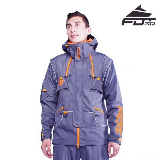 """Pro Jacket"" Dark Grey Color with Orange Details for Stylish Dog Trainers"