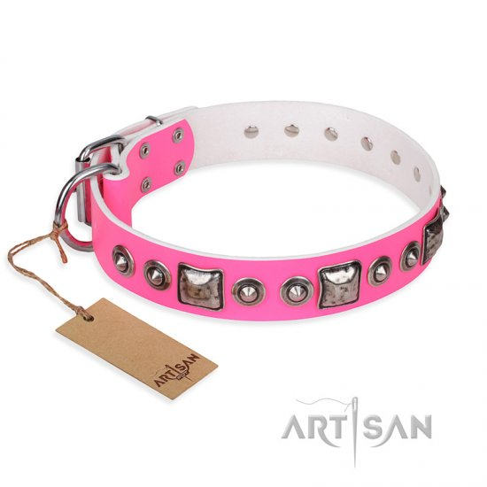 """Pink Dream"" FDT Artisan Leather dog Collar with Silvery Decorations"