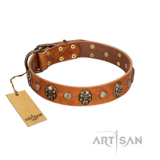 """Call of Feat"" FDT Artisan Tan Leather dog Collar with Old Bronze-like Studs and Oval Brooches"