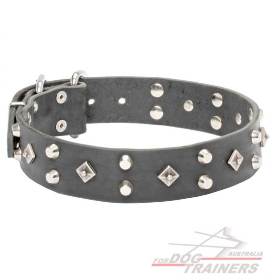 "Leather Dog Collar ""Pyramid of Cheops"" with Decoration"