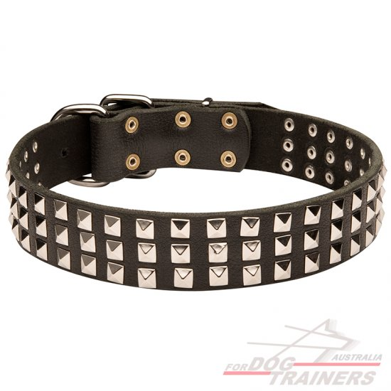 3 Rows Nickel Pyramids Leather Dog Collar