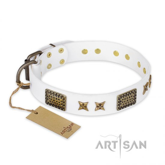 """Hour of Triumph"" FDT Artisan White Leather dog Collar"