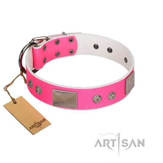 """Pink Blush"" Premium Quality FDT Artisan Pink Designer dog Collar with Plates and Studs"