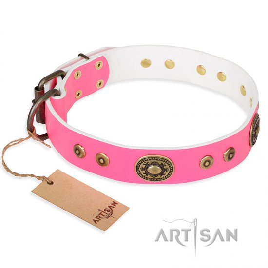 """Pink Pearl"" FDT Artisan Leather dog Collar for Real Ladies"