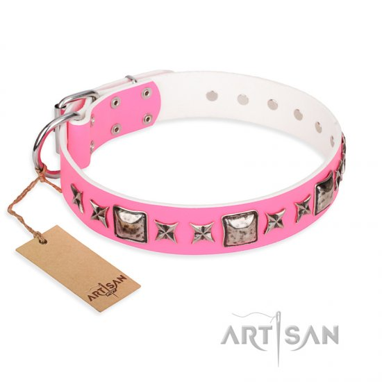 """Lady in Pink"" FDT Artisan Extravagant Leather dog Collar with Studs - Click Image to Close"
