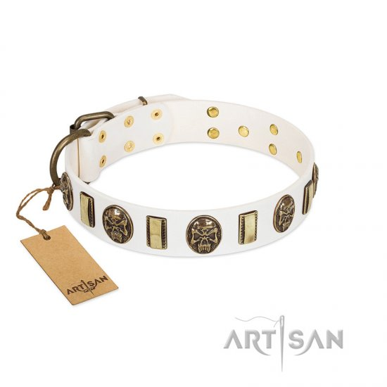"""Mystery of Times"" FDT Artisan White Leather dog Collar with Plates and Medallions with Skulls"