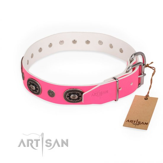 """Flavor of Strawberry\"" FDT Artisan Flashy Pink Leather dog Collar"