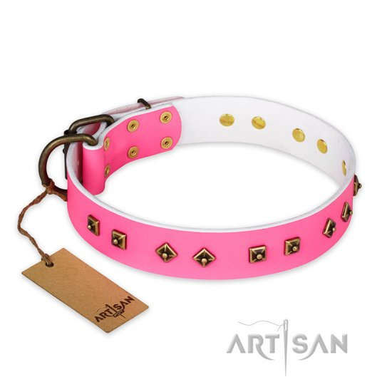 """Magic Pink"" FDT Artisan Decorated Leather dog Collar with Old Bronze-Plated Steel Hardware"