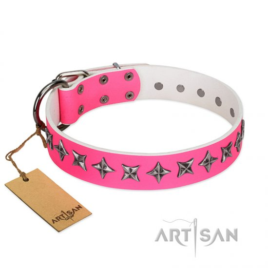 """Star Dreams"" FDT Artisan Pink Leather dog Collar with Silver-like Stars"