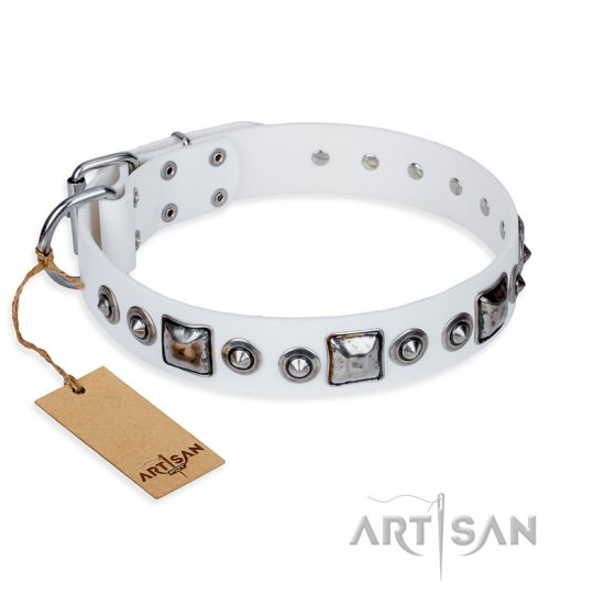 """Lustre of Fame"" FDT Artisan White Studded Leather dog Collar"