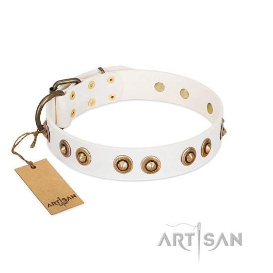 """Moonlit Stroll"" FDT Artisan White Leather dog Collar with Antique Decorations"