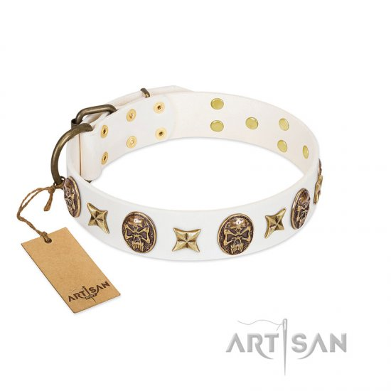 """Fads and Fancies\"" FDT Artisan White Leather dog Collar with Stars and Skulls"
