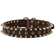 Designer Spiked and Studded Leather Dog Collar