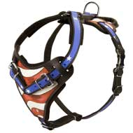 Designer Leather Dog Harness Hand Painted