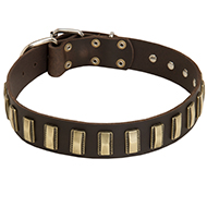 Ornamented with Plates Leather Dog Collar