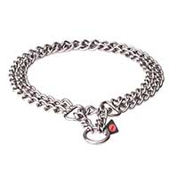 "Brushed Stainless Steel Collar with 1/9 inch (3 mm) link diameter - ""Double Chain"""