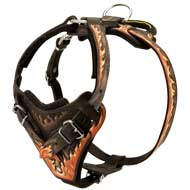 Stylish Hand-Painted Leather Dog Harness with Flames