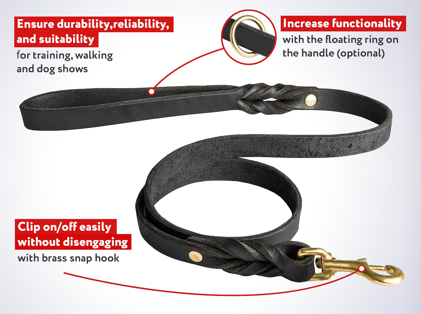 Leather dog leash with short braids