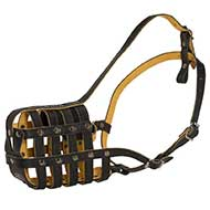 Leather Basket Dog Muzzle Nappa Padded
