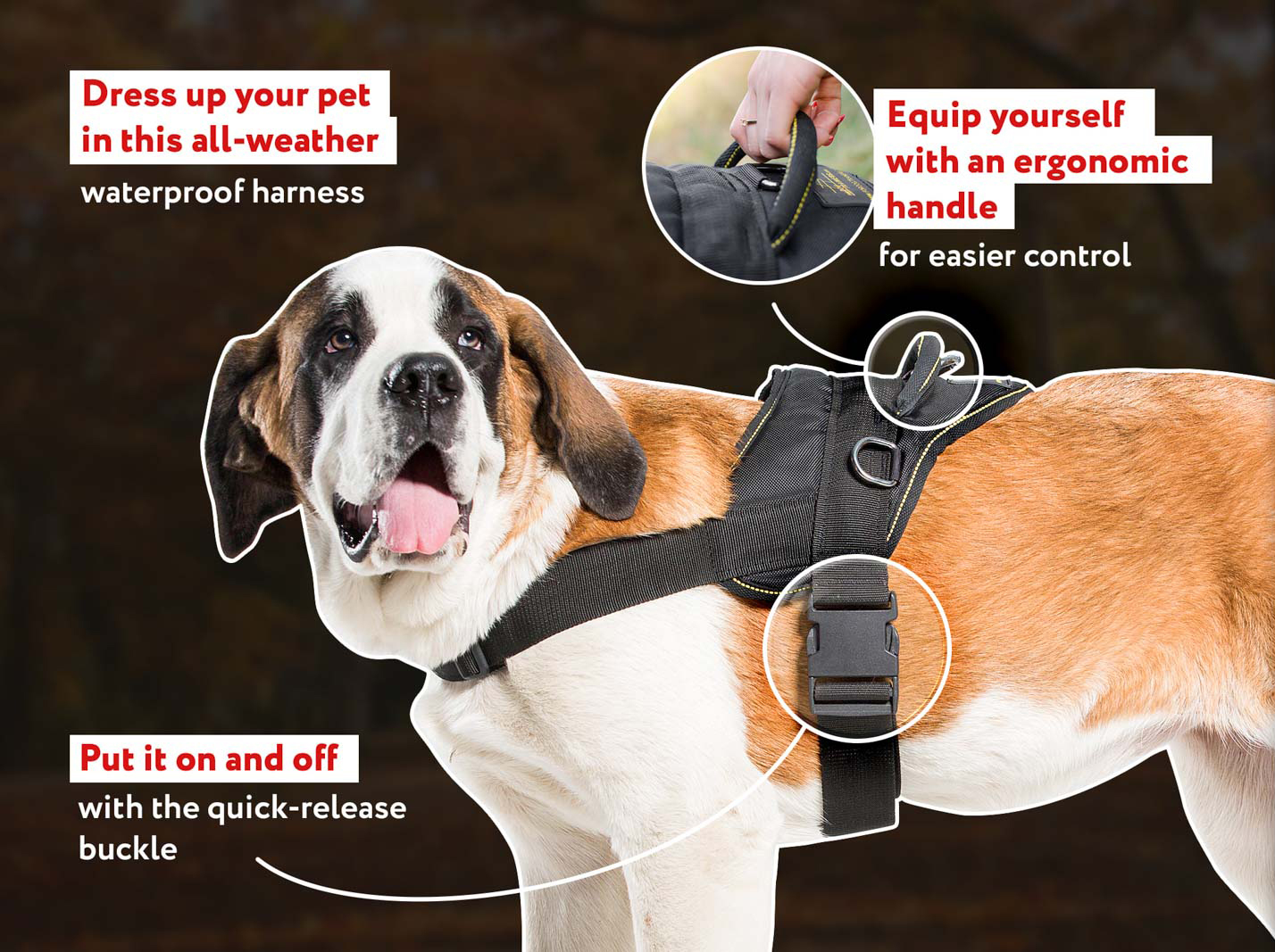 Lightweight Nylon Canine Harness for Tracking-Pulling Activties