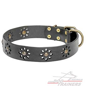 Leather Dog Collar with Flower Design