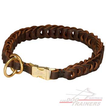 Brown Springy Braided Choke Dog Collar of Leather