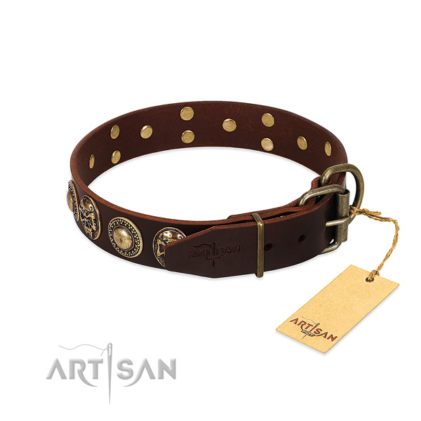 Durable adornments on handy use dog collar