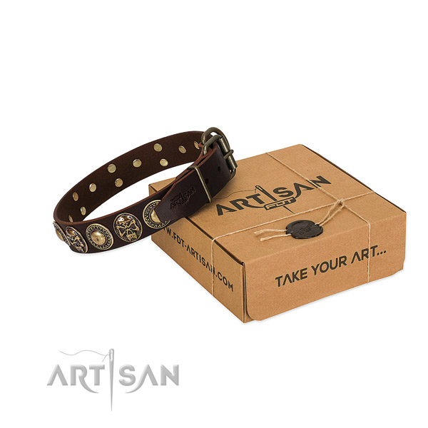 Strong studs on dog collar for comfortable wearing