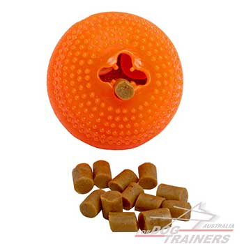 Special rubber ball for treat dispensing