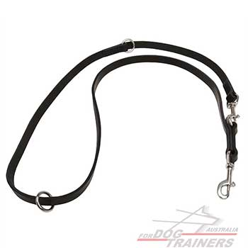 Police leather dog leash with 2 Stainless Steel Snap Hooks