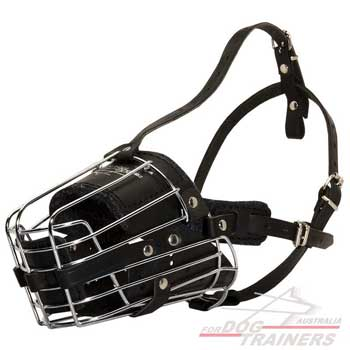 Dog muzzle leather padded metal cage for service dogs