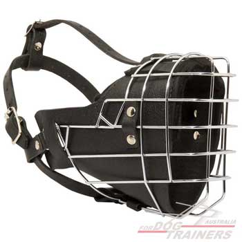Wire Cage Leather Dog Muzzle for Attack/Agitation Training