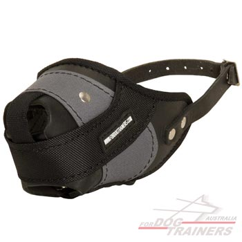 Leather Nylon Dog Muzzle for training