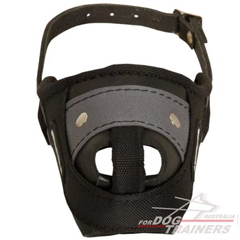 Leather Nylon Dog Muzzle with steel bar for training