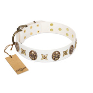"""Fads and Fancies"" FDT Artisan White Leather dog Collar with Stars and Skulls"