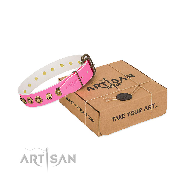 Full grain leather collar with awesome decorations for your canine