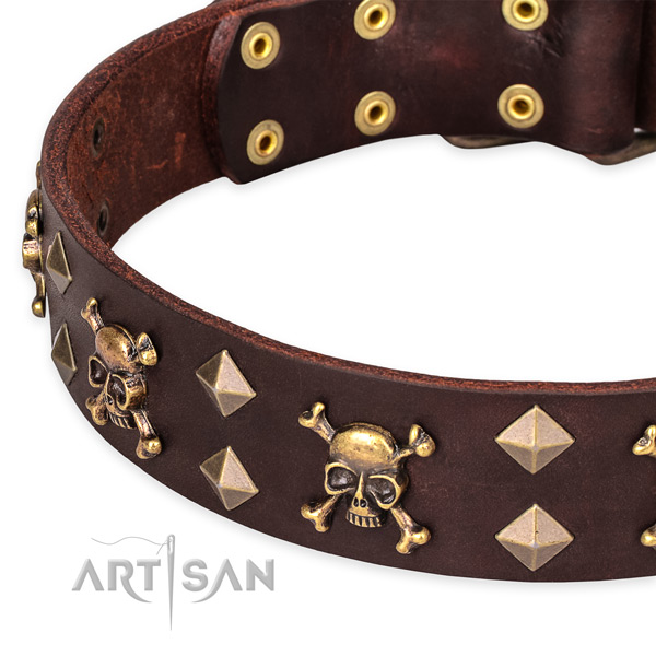 Comfortable wearing embellished dog collar of fine quality genuine leather