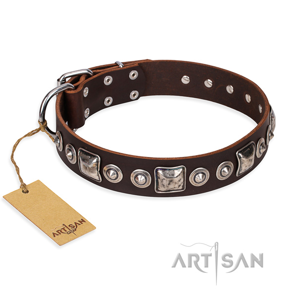 Leather dog collar made of soft material with corrosion proof buckle