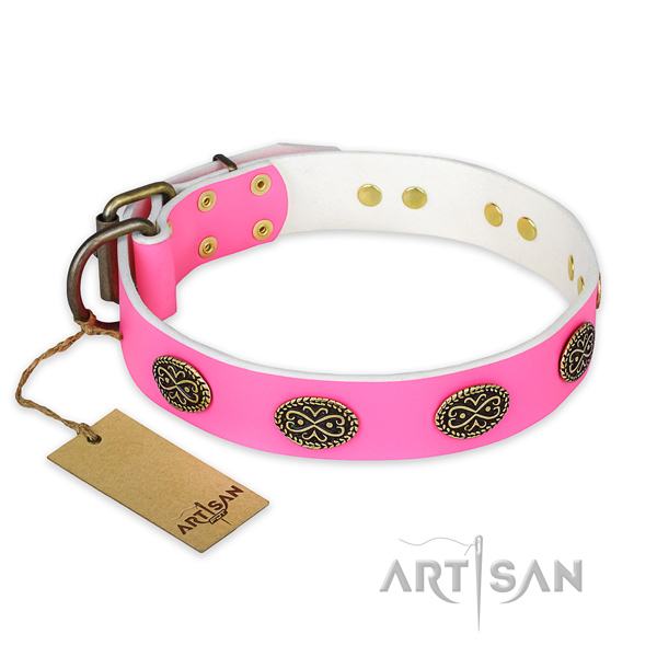 Top notch genuine leather dog collar for everyday use