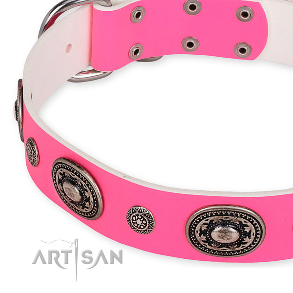 Genuine leather dog collar with stylish design rust-proof adornments