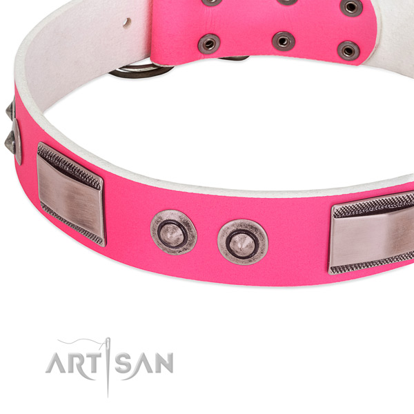 Adjustable natural leather collar with adornments for your doggie