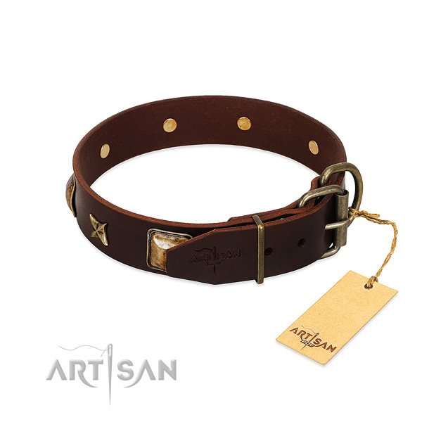 Full grain natural leather dog collar with rust resistant buckle and studs