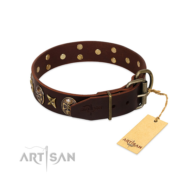 Genuine leather dog collar with corrosion proof traditional buckle and adornments